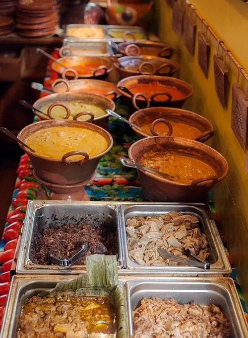Mexican food in serving dishes